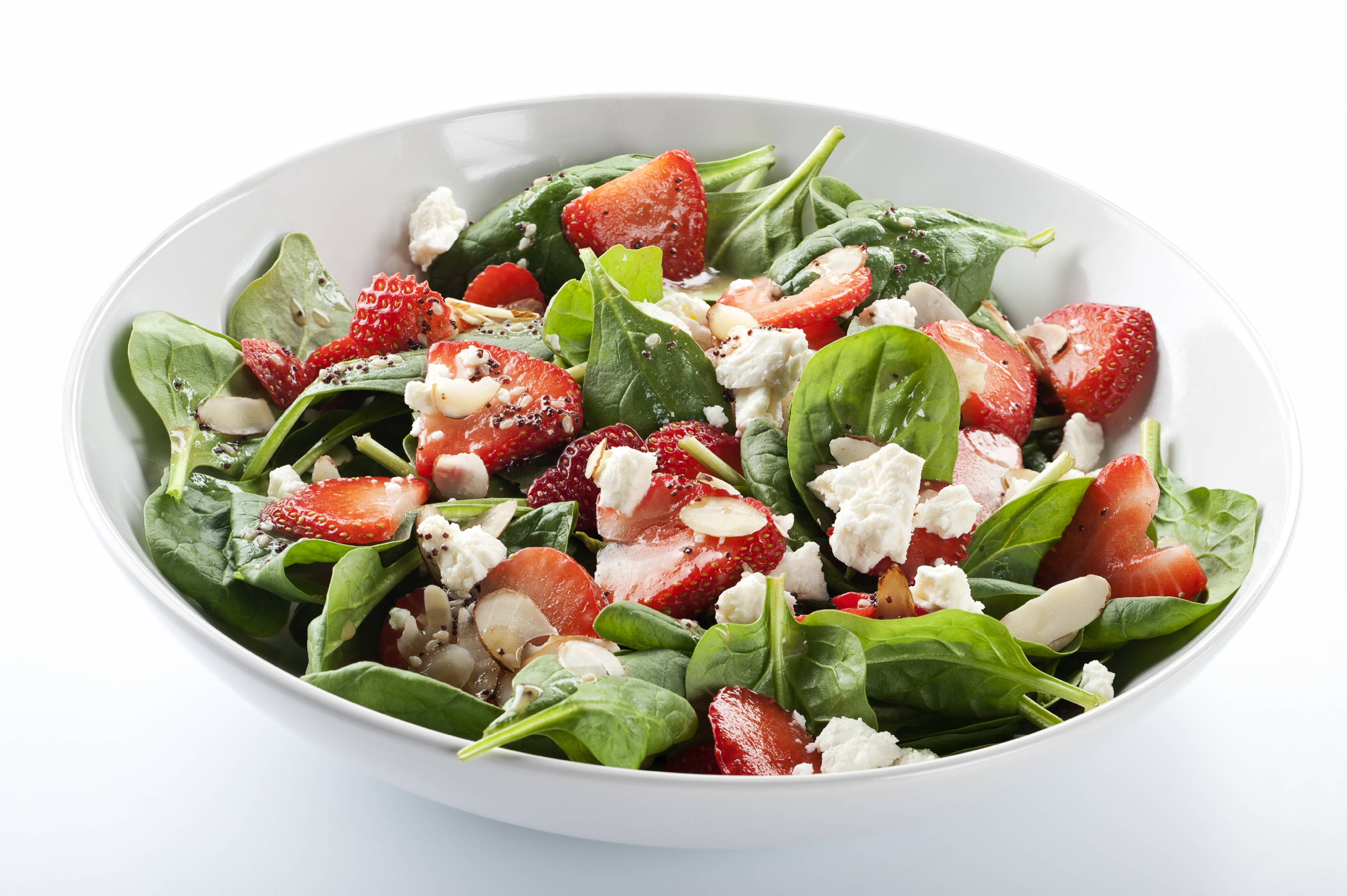 Spinach Strawberry Salad with Goat Cheese